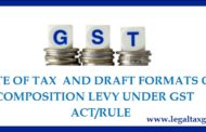 Rate of Tax and draft formats on Composition Levy  under GST Act/Rule