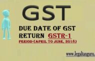 Due dates for furnishing of FORM GSTR-1 April to June, 2018