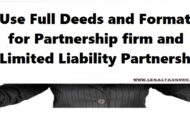 Use Full Deeds and Formats for Partnership firm and Limited Liability Partnership (LLP)